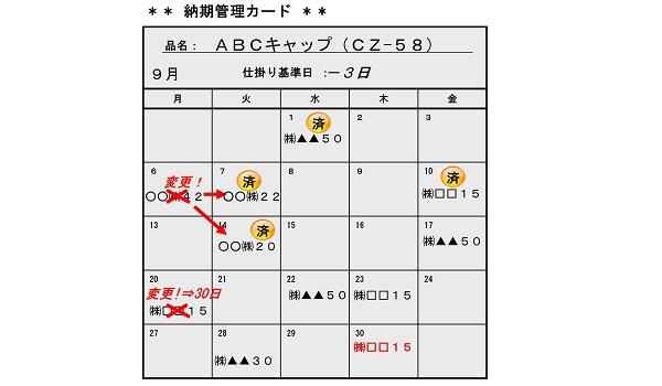 納期管理カレンダー