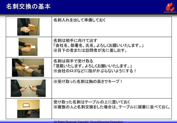 名刺交換の基本ポイントの写真